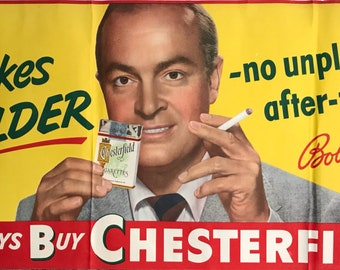 191940s Bob Hope Chesterfield Cigarettes Huge Paper Poster – Advertisement, Tobacco, Tobacciana, Decor, Advertising, Sign, Banner, Posters