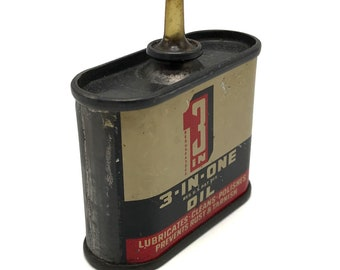 Vintage 3-In-1 Mini Tin Oil Can – 1 oz – Antique Lubricant, Cleaner, Polish, Prevents Rust & Tarnish, Miniature, Small, Garage, Home, Decor