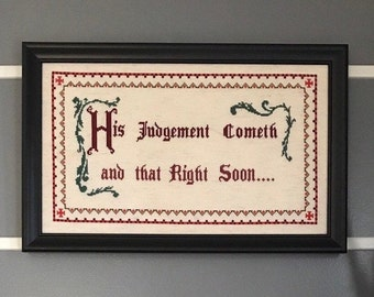 "Shawshank Redemption Cross Stitch Pattern – ""His Judgement Cometh and That Right Soon"" – Instant Download Digital File, Warden Norton, Safe"