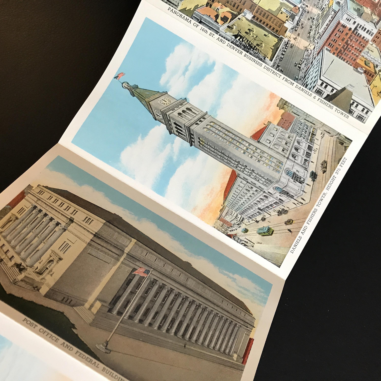 1929 Denver Colorado Souveneir Vintage Postcard Set, (18