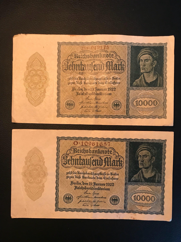 1922 Obsolete German Paper Money—Deutschmarks, Marks, Bills, Dollar Bill, Historical Money, 10 ...