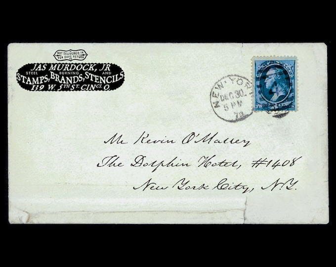 Featured listing image: Custom 'Undertaker' Return Address Label or Rubber Stamp – Digital, Graphic, Envelope, Ornate, Edwardian, Elegant, Housewarming, Ephemera