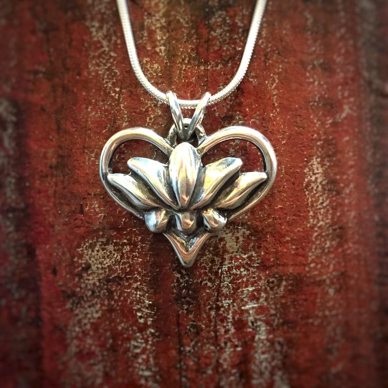 Lotus Pendant Heart Pendant Lotus Necklace Heart Necklace image 0