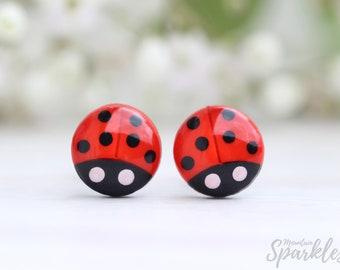 Ladybug titanium earrings for girls, Minimalist earrings, Dainty earrings, Red earrings, Gift for girls, Kids earrings, Gift women, Titanium