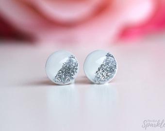 White stud earrings, Glitter earrings, Titanium earrings studs, Minimalist Earrings, Gift woman, Bridesmaid Gift, Simple Studs, Wedding stud