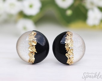 Beige black studs, Titanium earrings, Hypoallergenic, Minimalist Earrings, Gift woman, Bridesmaid Gift, Simple Studs, Wedding earrings black