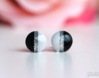 Black and white stud earrings, Titanium earrings studs, Hypoallergenic, Minimalist earrings, Gift woman, Bridesmaid gift, Simple studs