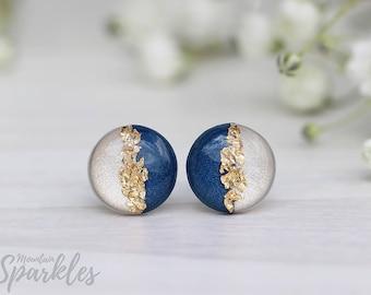 Navy Stud Earrings, Beige navy studs, Hypoallergenic, Minimalist Earrings, Gift woman, Bridesmaid Gift, Simple Studs, Wedding earrings navy