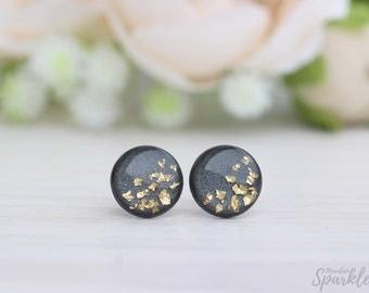 Gray earrings, Titanium earrings, Dainty earrings, Gray gold studs, Everyday earrings, Gift for her, Inspirational gift women, Best Gift