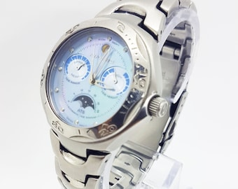 40206b13e63 Rip curl Ocean Moonphase watch for men and women SIlver tone Core Tide Watch  Chronograph rare watch Unique mens and womens wristwatch