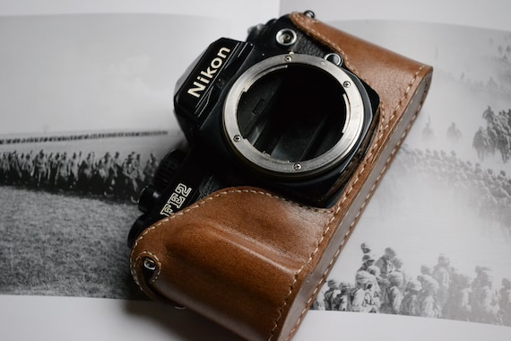 Genuine Leather Half Case for Nikon F2 Dark Brown with Tan Stitching BRAND NEW