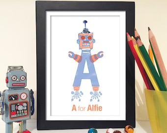 Alphabet Robot - Personalised Print - Robot Print - Robot alphabet