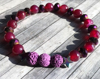 Aromatherapy diffuser bracelet, magenta agate, purple electroplated rondelles, rainbow hemalyte stars, lava stone beads, use essential oils