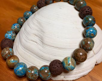 Diffuser bracelet, natural blue crazy lace agate, brown lava stone 8mm beads, stretch bracelet, 7.5 inches