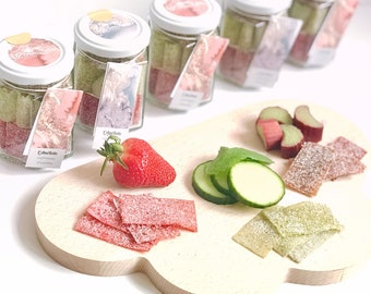Mix the AmiKette candy natural fruit, pot mix of 3 flavors, strawberry, cucumber-Mint and cinnamon rhubarb