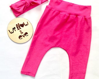 Hot pink harem and topknot baby girl toddler