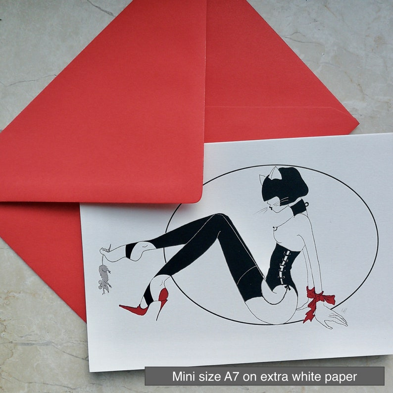 Digital Print Cat Girl Cat and Mouse Folding Card A6 with Envelope Lingerie Revue
