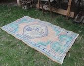 Turkish Rug, Vintage Handwoven Decorative Oushak Rug, Anatolian Home Decor Tribal Bathroom Area Rug Carpet, Turkish Nursery Area Rug 5 39 x2 39 8 quot