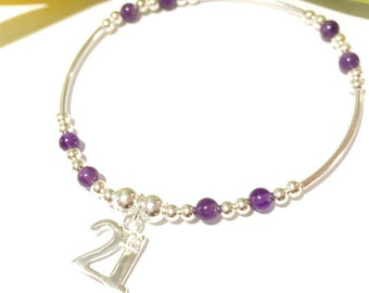 21st Birthday, Silver Bracelet, Amethyst Bracelet, Twenty One, Crystal Jewelry, Boho, Friendship Bracelet, Gift For Her, Beaded Bracelet