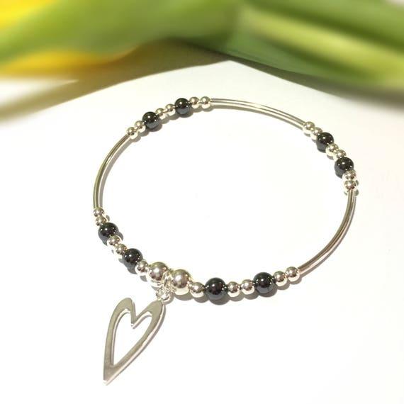 Sterling Silver and Amazonite Horseshoe Charm Bracelet Wedding Gift Stacking Bracelet, Good Luck Gift