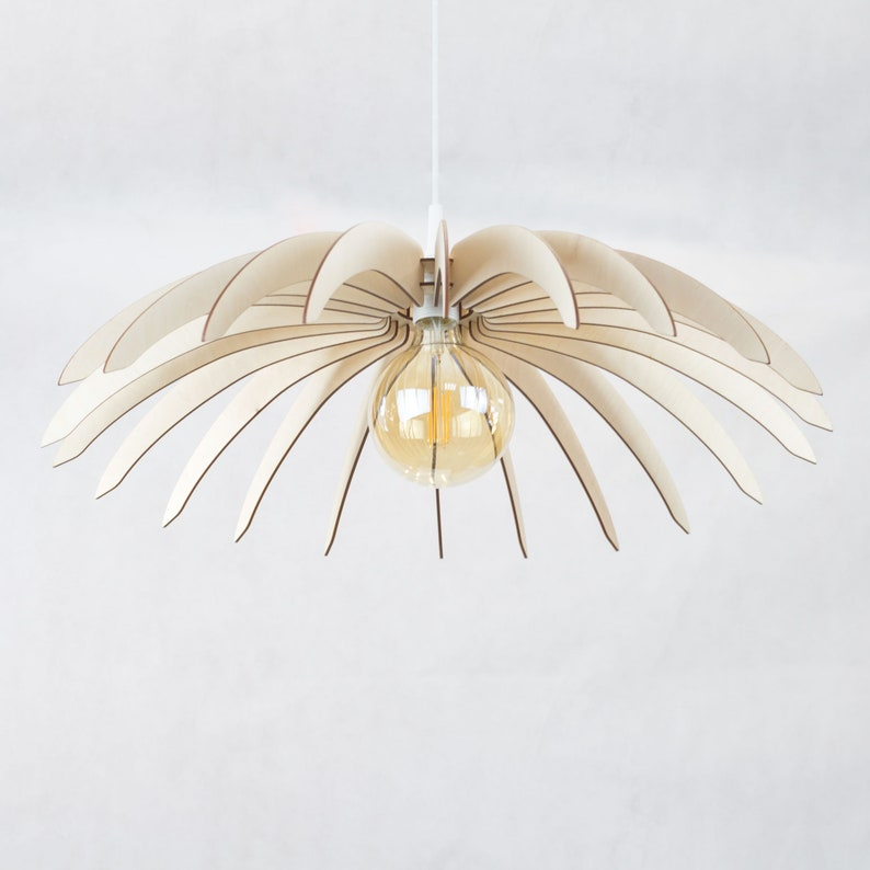 66cm Hanging Design Pedant Minimalistic Wooden Light Cord Set Ceiling Shade Wide Sunflower Lamp Included Pk8n0wOX