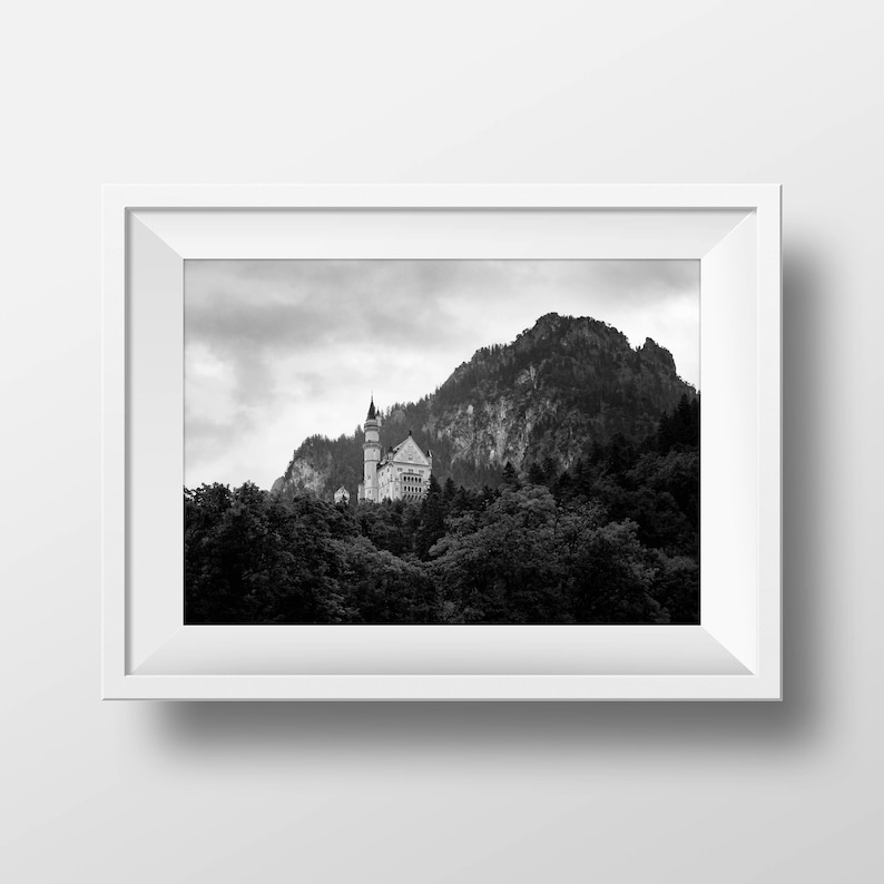 German Castle Print, Mountain Photo, Castle Photo, Castle Print, Printable  Wall Art, Digital Download, Modern Photography, Printable Poster