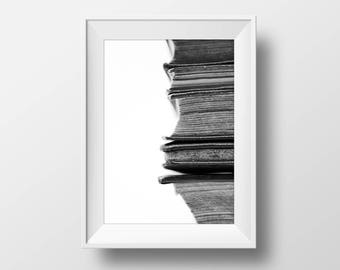 Books Print, Books Fine Art, Books Photo, Black and White Print, Digital Download, Modern Photography, Printable Poster, Macro Photo