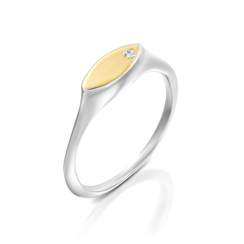 Pinky Ring Women 22k Solid Gold and Silver Pinky Gemstone Women Signet Ring Personalized Ring Gift Pinky Promise Ring