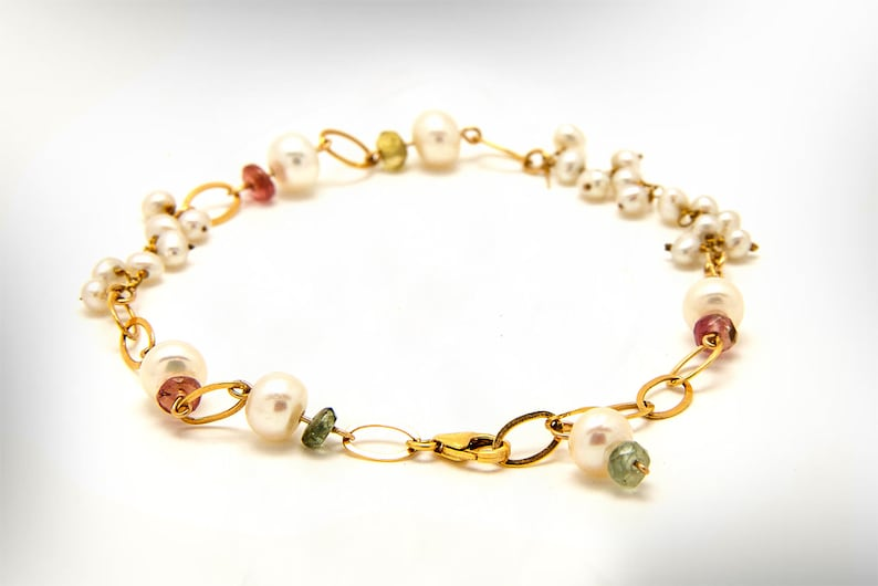 Women/'s Personalized Beaded Bracelets Colorful Jewelry Gift for Mom Gold Filled Bracelet with Pearls and Tourmaline