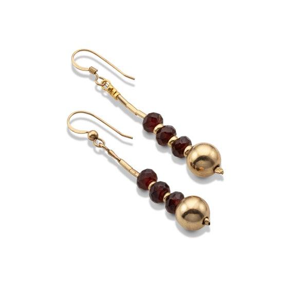 Garnet Birthstones Set Gold Filled Beads with Garnet January Birthstones Necklace and Dangle Earrings Women Birthstone Set Gift.