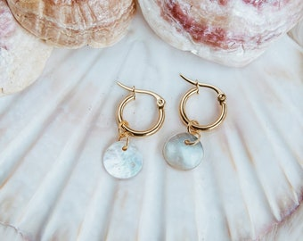 3ca487f5e Stainless steel hoop earrings with Natural mother of Pearl charms