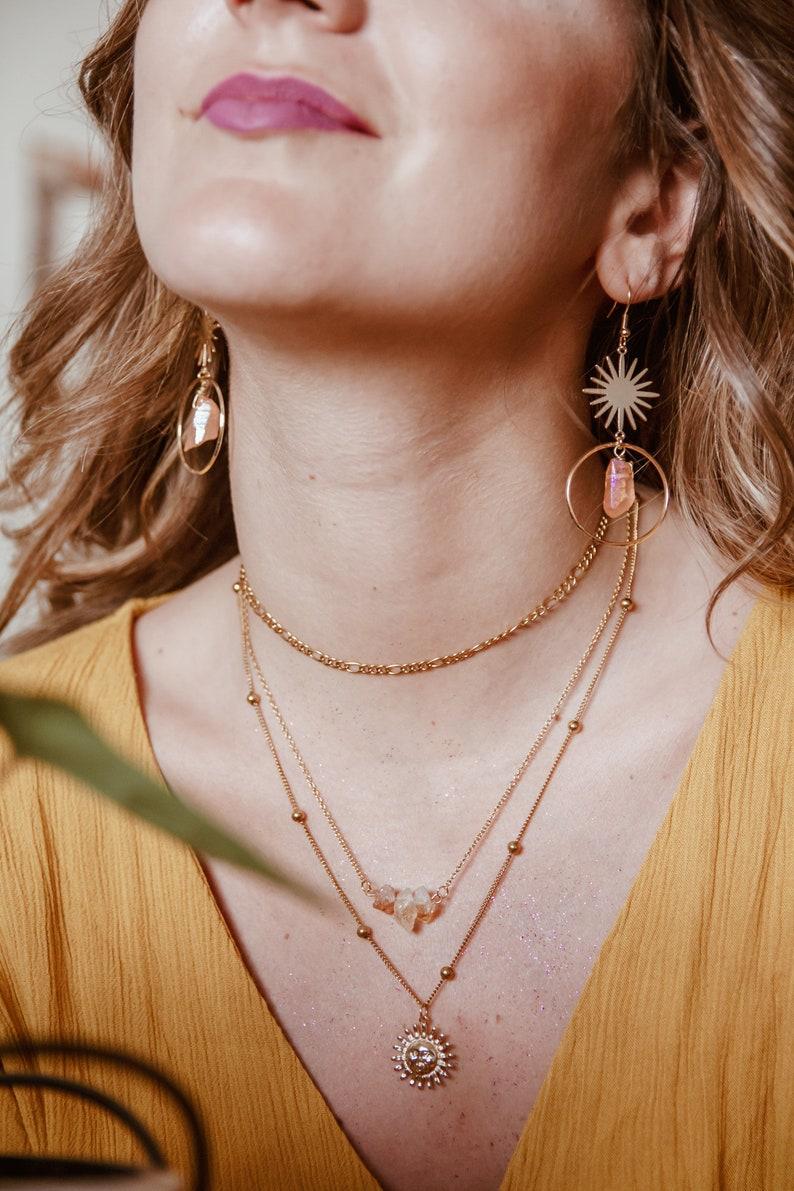 Sun dreamy celestial earrings with orange aura quartz ~ a sunny spring earrings