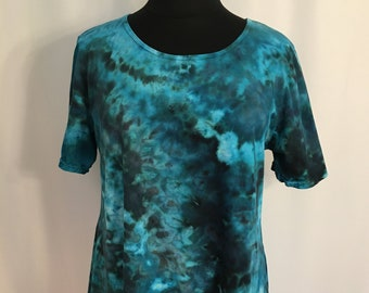 long sleeve tunic ice dyed in mermaid/'s dream blue and green geode design in U.S Women/'s S M L XL 2X 3X Plus Sizes Women/'s Tunic Top