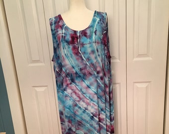 37d146f658f Ice Dyed Tie Dye Pullover Swing Tanktop Tank Sleeveless Dress Below Knee  Blue Orchid Concentric Circles Size S M L XL 2XL 3XL