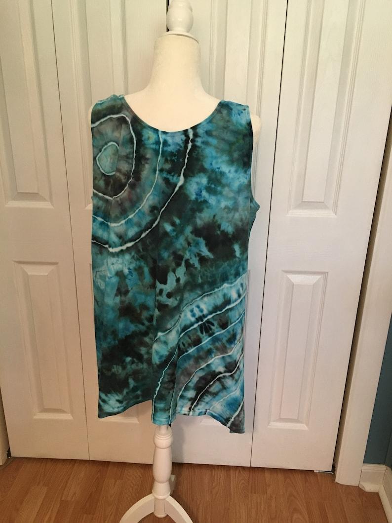 Tie Dye Tunic Ice Dyed Tie Dye Tank Sleeveless Tanktop Tunic Top Blue Black Double Burst Design Women/'s S M L XL 2X 3X Plus Sizes