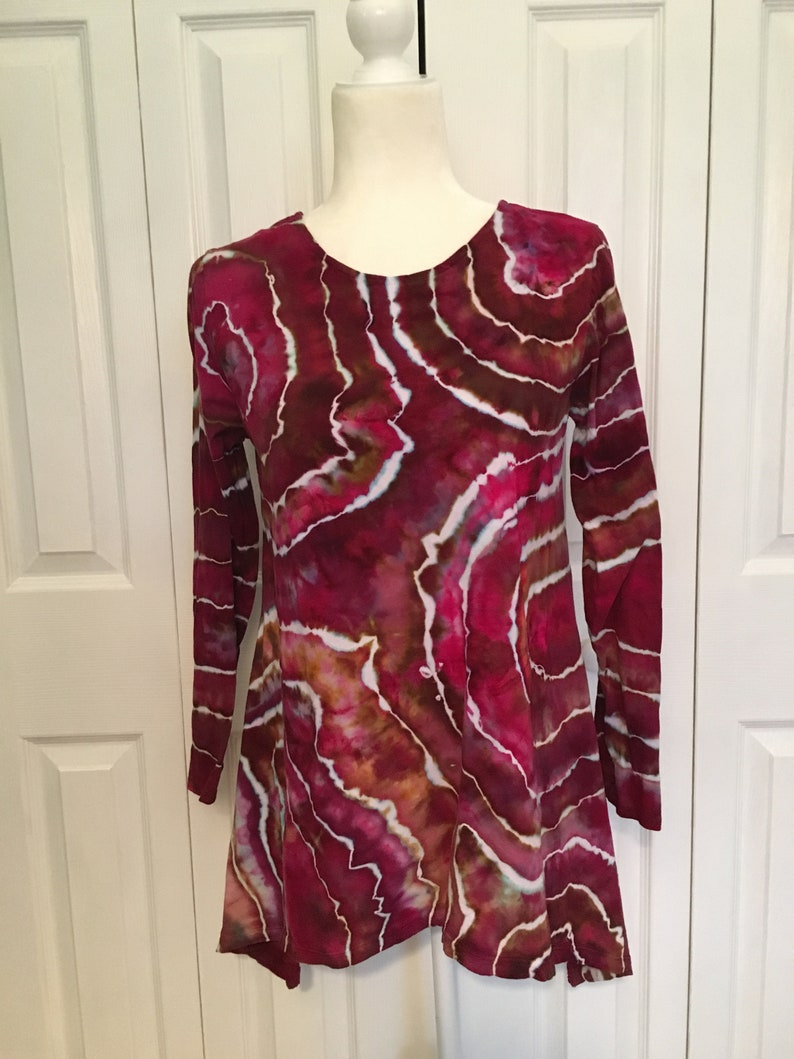 Women/'s S M L XL 2X 3X Plus Sizes Tie Dye Tunic Ice Dyed Tie Dye Geode Design Tunic Raspberry in U.S
