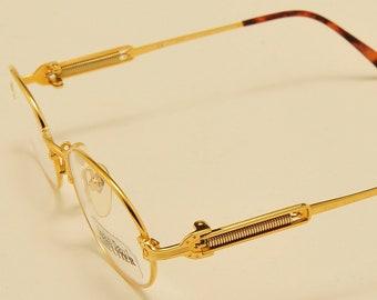 2dd03944429 Jean Paul Gaultier 55-5104 oval shape   22K Gold Plated   masterpiece  design   exclusive details   NOS   Made in Japan   Vintage eyeglasses