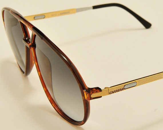 "CARRERA 5335 ""Vario"" aviator teardrop shape / optyl and golden frame / side temples adjustable in length / NOS / Vintage sunglasses"