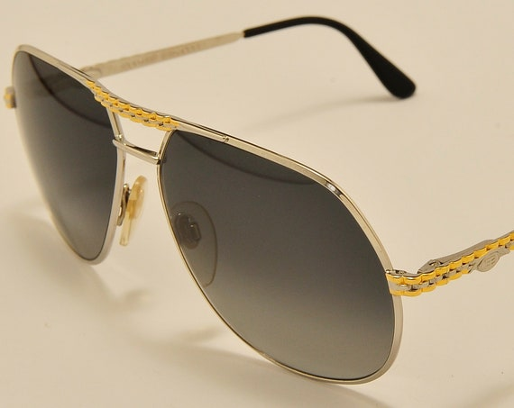 Ettore Bugatti EB 502/S aviator teardrop shape / golden steel frame / Utra Rare / Made in France / luxury design / Vintage sunglasses