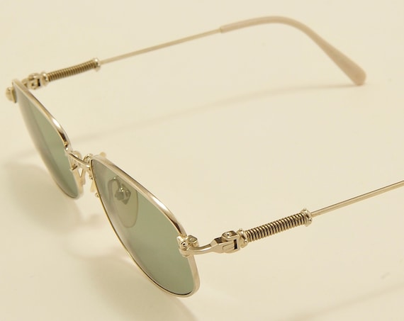 Jean Paul Gaultier 55 - 6102 squared shape / shiny metal frame / exclusive details / Made in Japan / NOS / new lenses / Vintage sunglasse