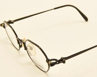 ae9ac141ec3 Jean Paul Gaultier 55-5103 octagonal shape   black metal frame   Made in  Japan   90s model   NOS   demo lenses   Vintage eyeglasses
