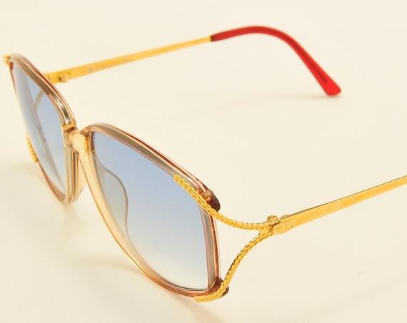Christian Dior 2913 squared oversized shape / golden frame / chic details / celestial lenses / NOS / Made in Austria / Vintage sunglasses
