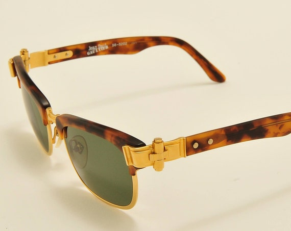 Jean Paul Gaultier 56 5202 clubmaster shape / golden and acetate frame / 90s model / NOS / new lenses / Made in Japan / Vintage sunglasses