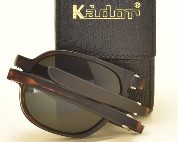 KADOR 519 folding sunglasses / high quality matt acetate frame / aviator shape / handmade in Italy / sophisticated taste / NOS / 90s