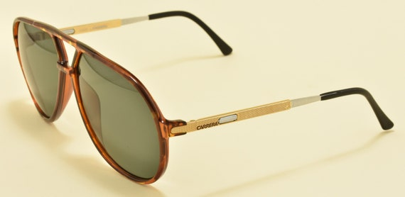 "Carrera 5335 ""Vario"" aviator teardrop shape / optyl and golden / side temples adjustable length / NOS / green lenses / Vintage sunglasses"
