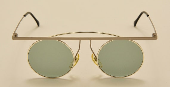 TAXI mod.205 C02 by Casanova round shape / steel frame / masterpiece design / green lenses / NOS / 80s / Made in Italy / Vintage sunglasses