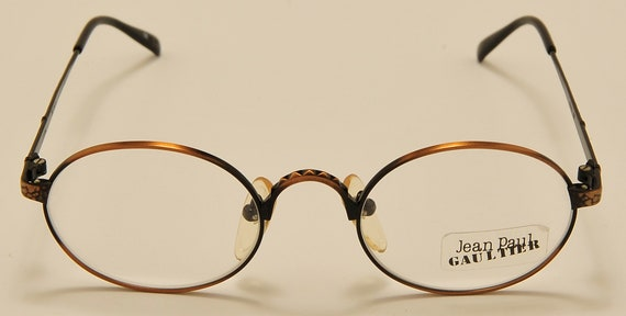 Jean Paul Gaultier 55-9672 oval shape / copper-colored effect / unique details / NOS / 90s / Made in Italy / Vintage eyeglasses