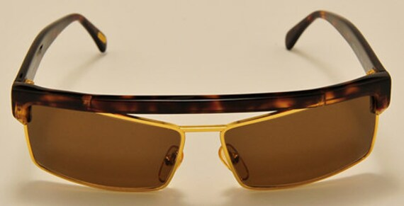 Versace mod. S02 squared shape / golden and acetate frame / NOS / 90s / Made in Italy / stylish design / Vintage sunglasses