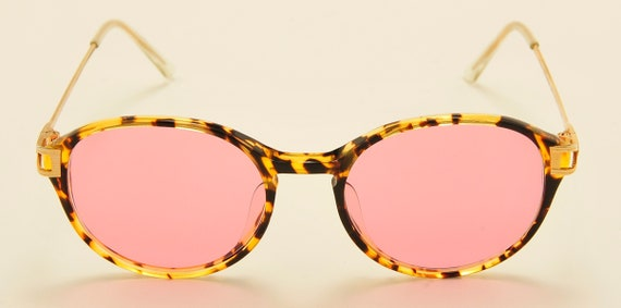 """Roy Tower """"JOANNA 27S"""" classic shape / tortoise frame / Made in Italy / 80s model / NOS / pink lenses / Vintage sunglasses"""