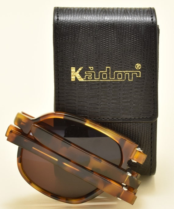 KADOR 252 folding sunglasses / high quality acetate frame / aviator shape / handmade in Italy / sophisticated taste / NOS / 90s /